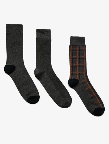 Koton 3'Lü Erkek Çorap Gri